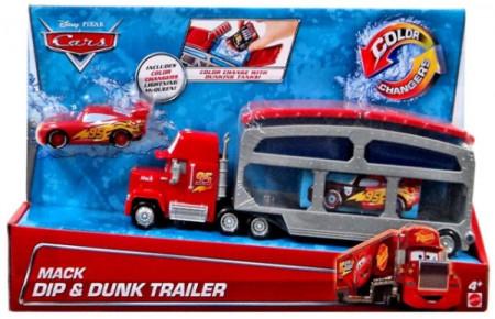 CARS 2 (Auta 2) - Color Changers Mack Dip & Dunk Trailer + Lightning McQueen (Blesk)