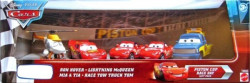 CARS (Auta) - 5pack - Ron Hover + Mia + Tia + Lightning McQueen + Race Tow Truck Tom