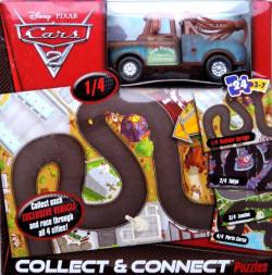 CARS 2 (Auta 2) - Collect & Connect 1 Puzzle + exkluzivní Mater (Burák) se stříbrnými ráfky