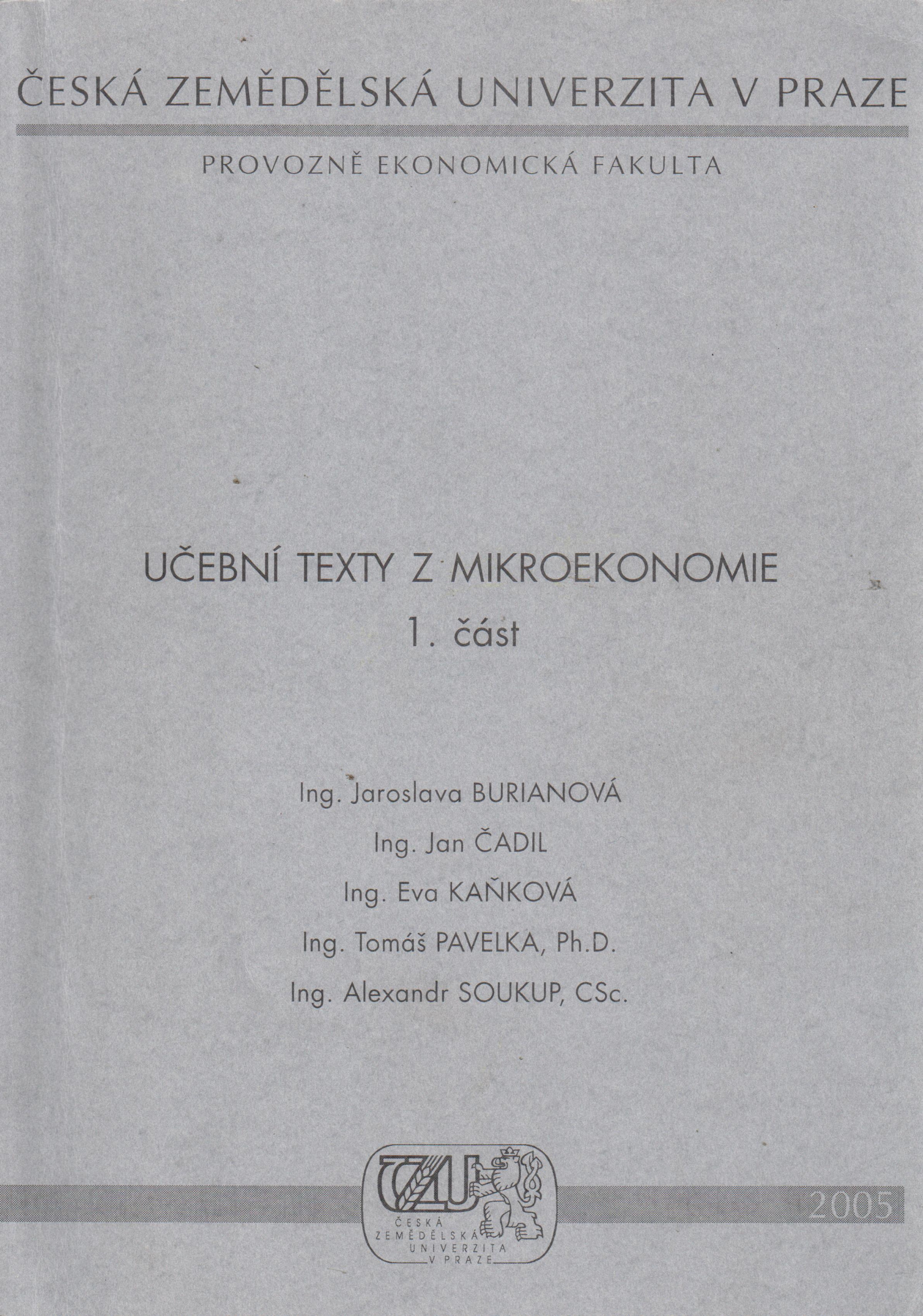 Učební texty z mikroekonomie - Náhled učebnice