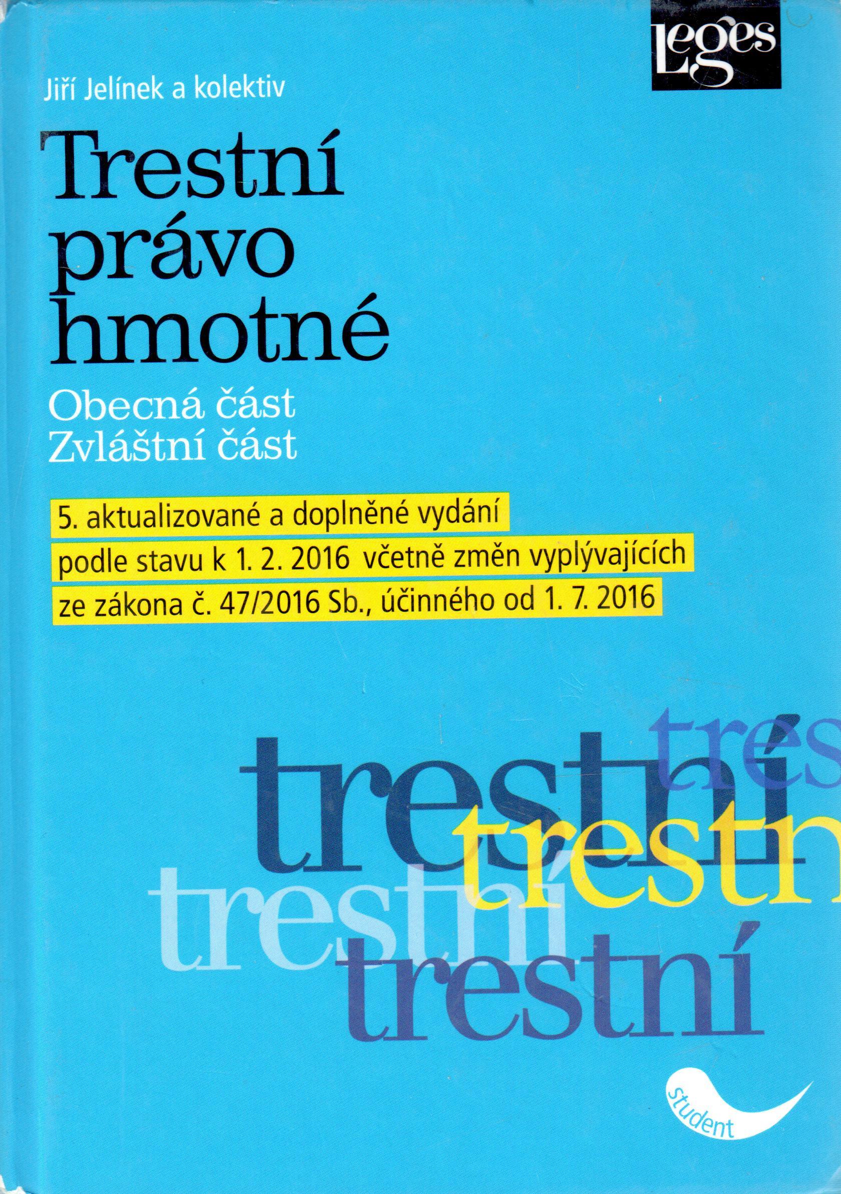 Trestní právo hmotné - 5. aktualizované vydání - Náhled učebnice