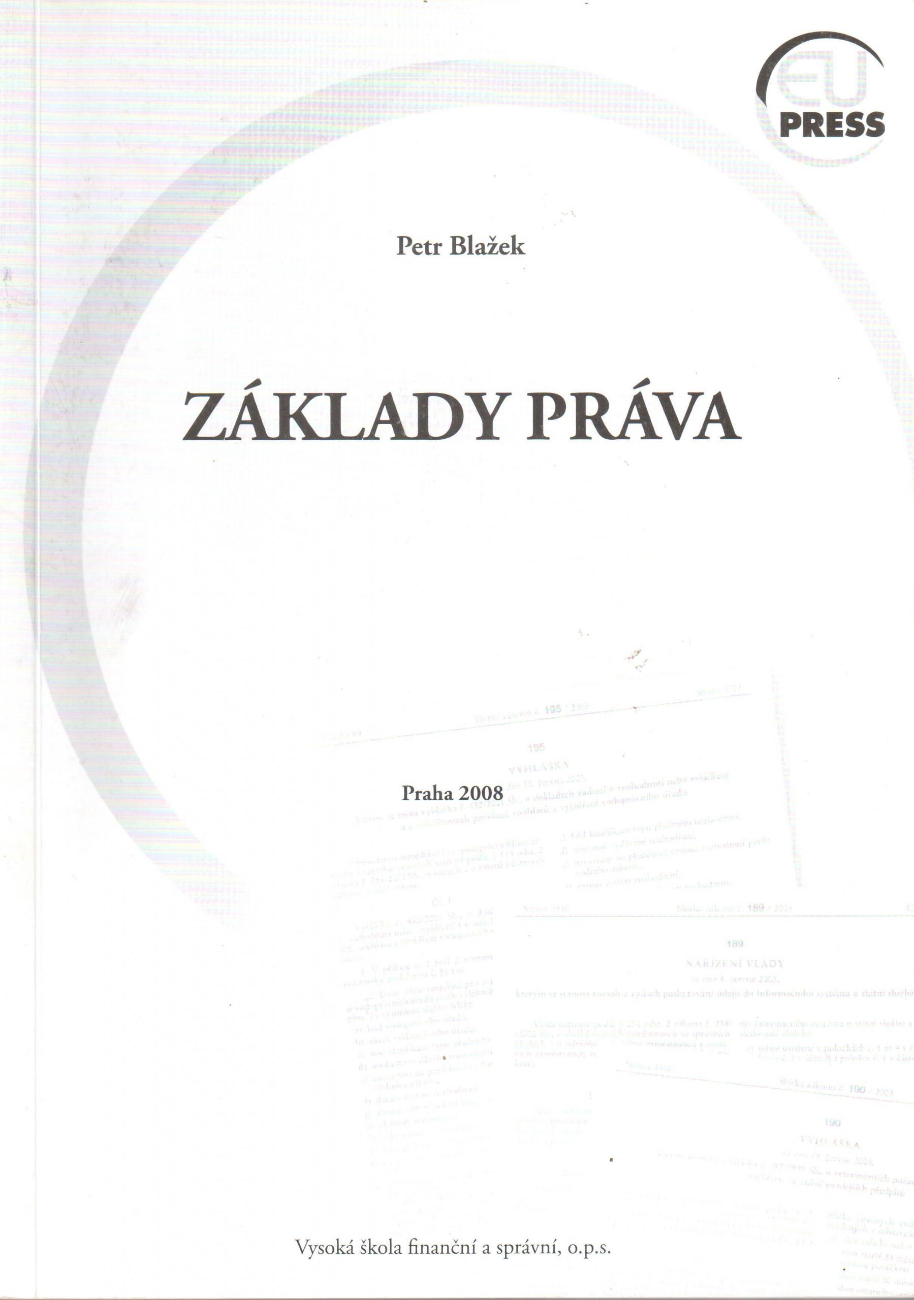 Základy práva : teorie práva a základy ústavního práva České republiky - Náhled učebnice