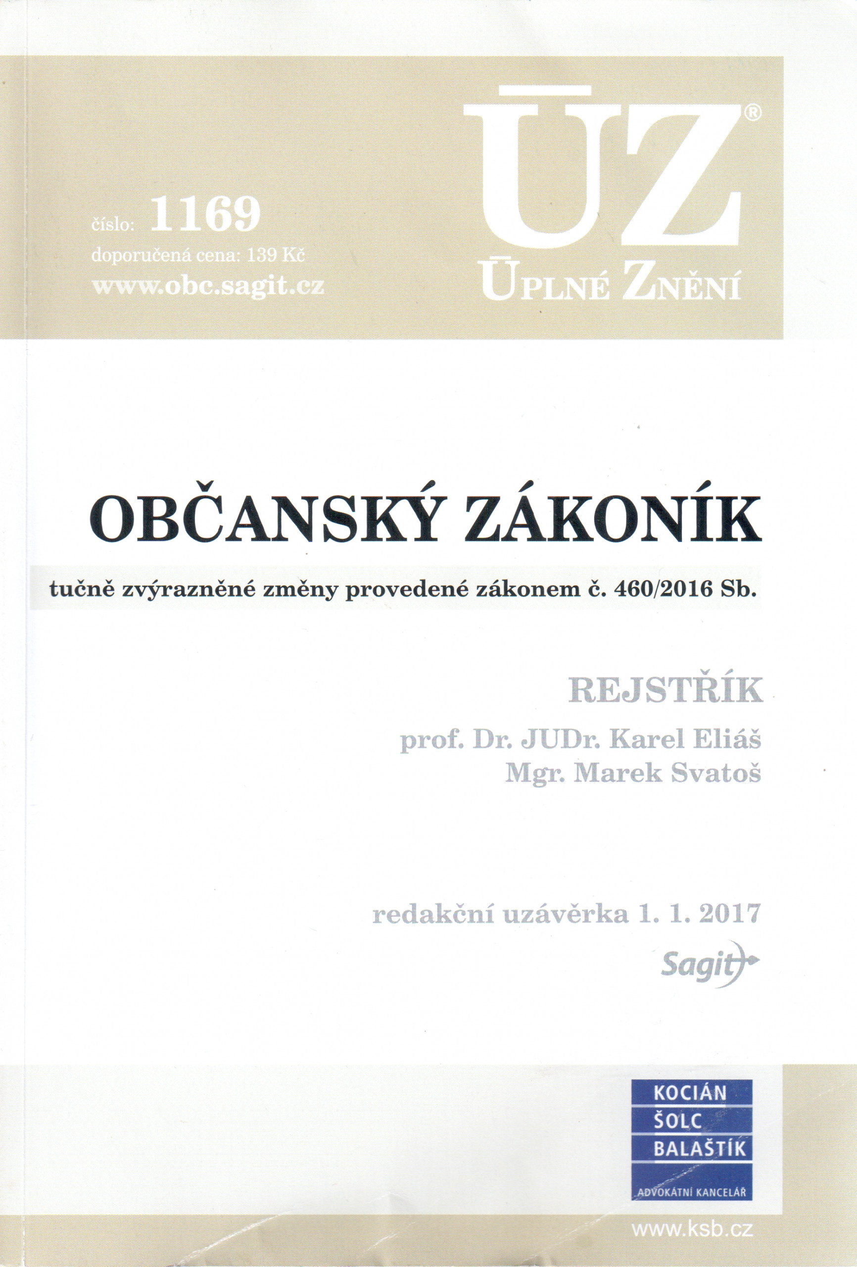 ÚZ č. 1169: Občanský zákoník 2017 - Náhled učebnice